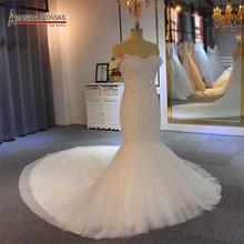 Off the shoulder straps mermaid wedding dress long train mariage