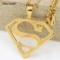 Tino Carlo 316L Acero Oro Superman Colgante, Collar de Los Hombres de Hiphop Cadena de Personalización del Símbolo Del Superhombre de Los Hombres Collar de La Joyería