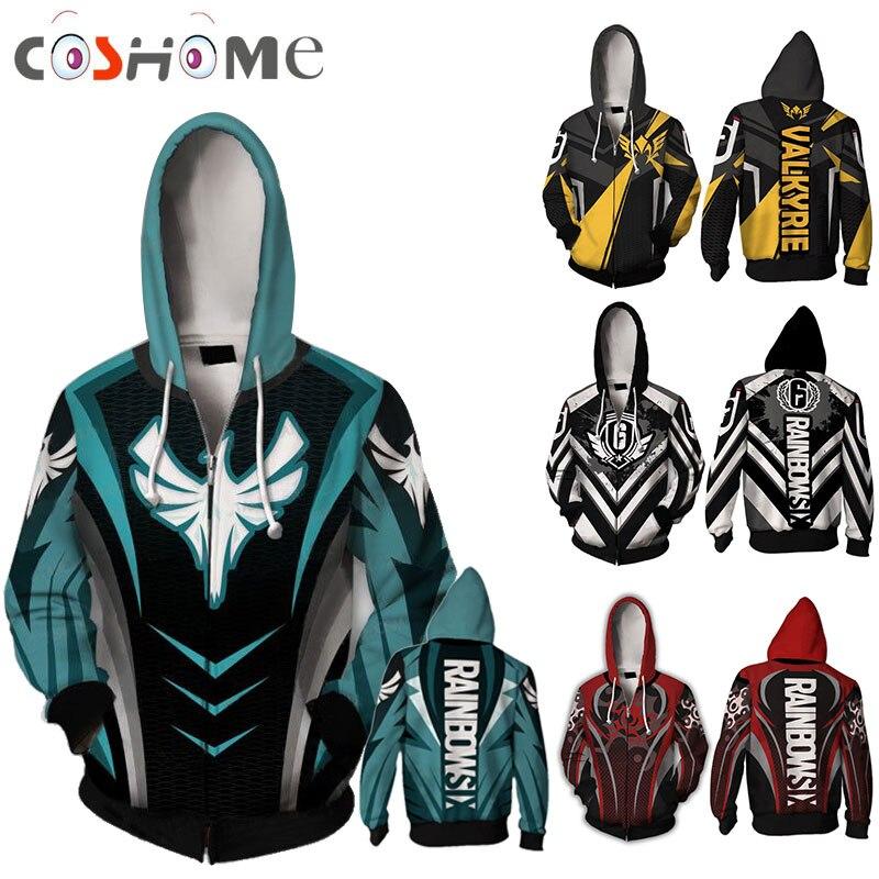 Coshome Game Tom Clancy's Rainbow Six Siege Cosplay Hoodie Jacket Men Male Hoodies Coat Streetwear Costumes Mens Boy Zipper Tops
