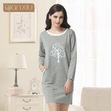 Qianxiu свободного покроя ночная рубашка для женщин три четверти Sleepskirts длиной до колен пижамы нижнее белье