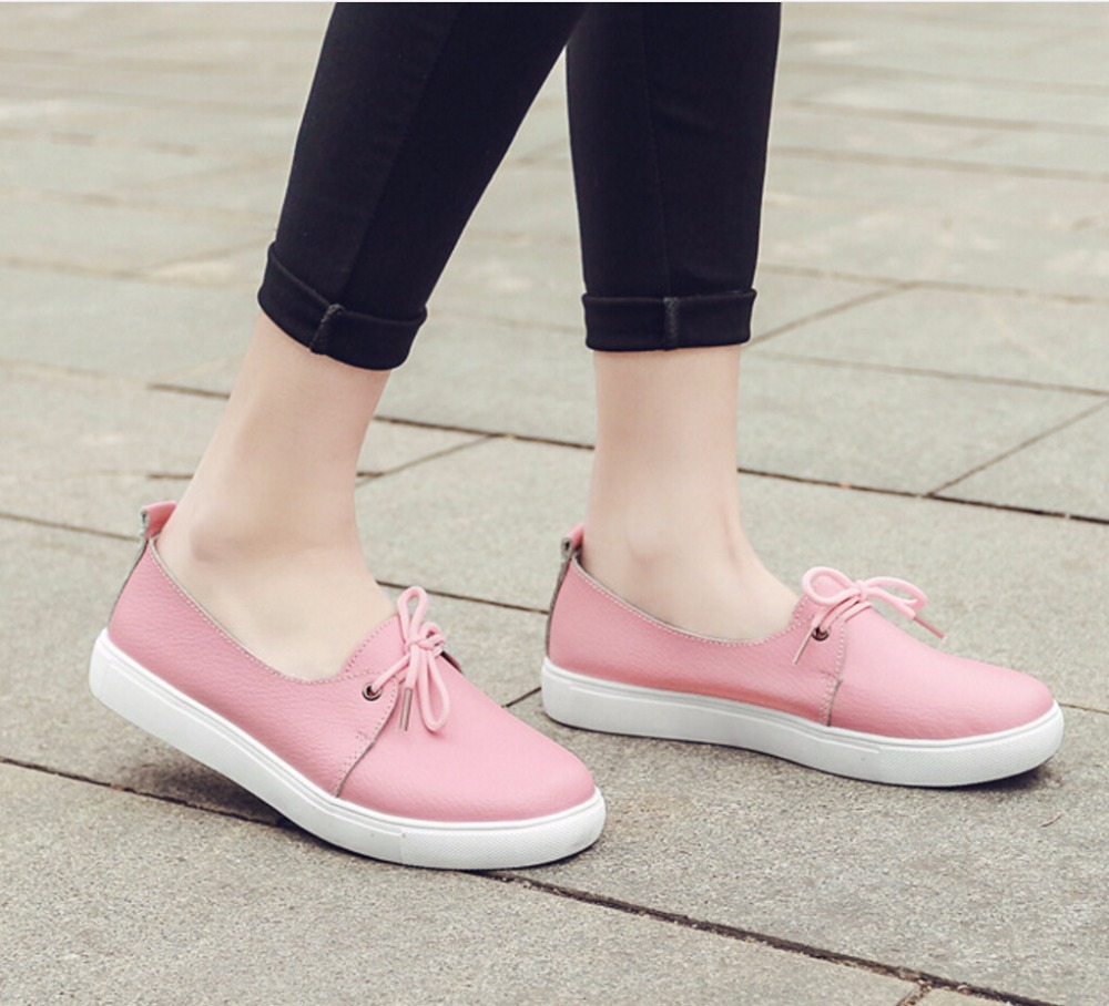 Spring Genuine leather women white flat shoes fashion lady casual shoes soft moccasins woman lace-up Ballet Flats Plus size35-40 2017 summer new women fashion leather nurse teacher flats moccasins comfortable woman shoes cut outs leisure flat woman casual s