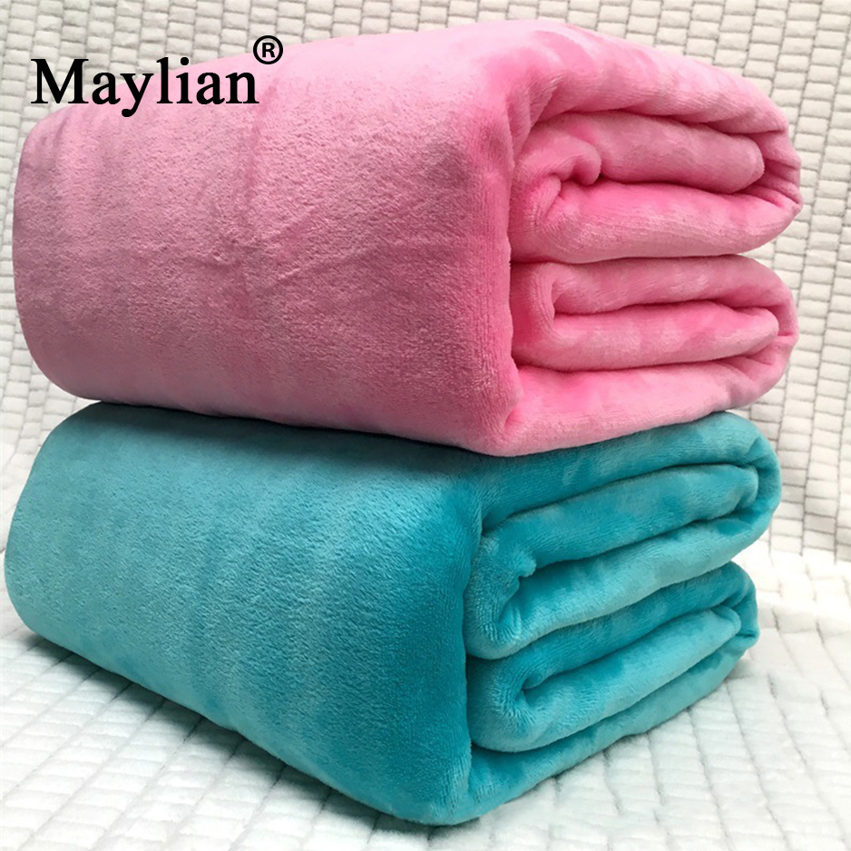 19colors Bedspread Blanket 6 Sizes High Density Super Soft Flannel Blanket To On For The Sofa/bed/car Portable Plaids T255