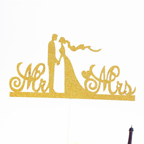 Multi Colors MR&  MRS Love Wedding Cake Flag Topper Warm Cake Flags For Birthday Wedding Party New Years Cake Baking Decor