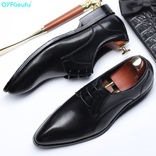QYFCIOUFU Genuine Leather Pointed Toe Business Mens Shoes Fashion Lace-up Man Handmade Formal Men Wedding