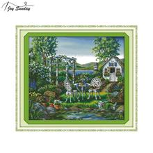Joy Sunday The Holiday House Counted Cross Stitch Fabric 14 11ct Printed Canvas Embroidery Kit DMC DIY Needlework Set Home Decor