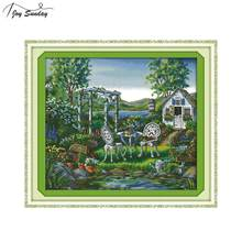 Joy Sunday The Holiday House Counted Cross Stitch Fabric 14 11ct Printed Canvas Embroidery Kit DMC DIY Needlework Set Home Decor(China)