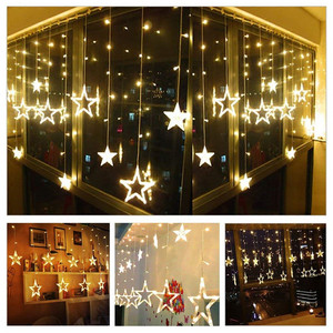 Image 5 - Christmas Lights Outdoor Indoor 4.5M Star Curtain String Light 138 LED Lamp with 8 Flashing Modes Decoration for Wedding Home