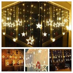 Image 5 - Noel Işıkları Açık Kapalı 4.5 M Yıldız Perde Dize Işık 138 LED Lamba 8 Yanıp Sönen Modları ile Dekorasyon için Düğün ev