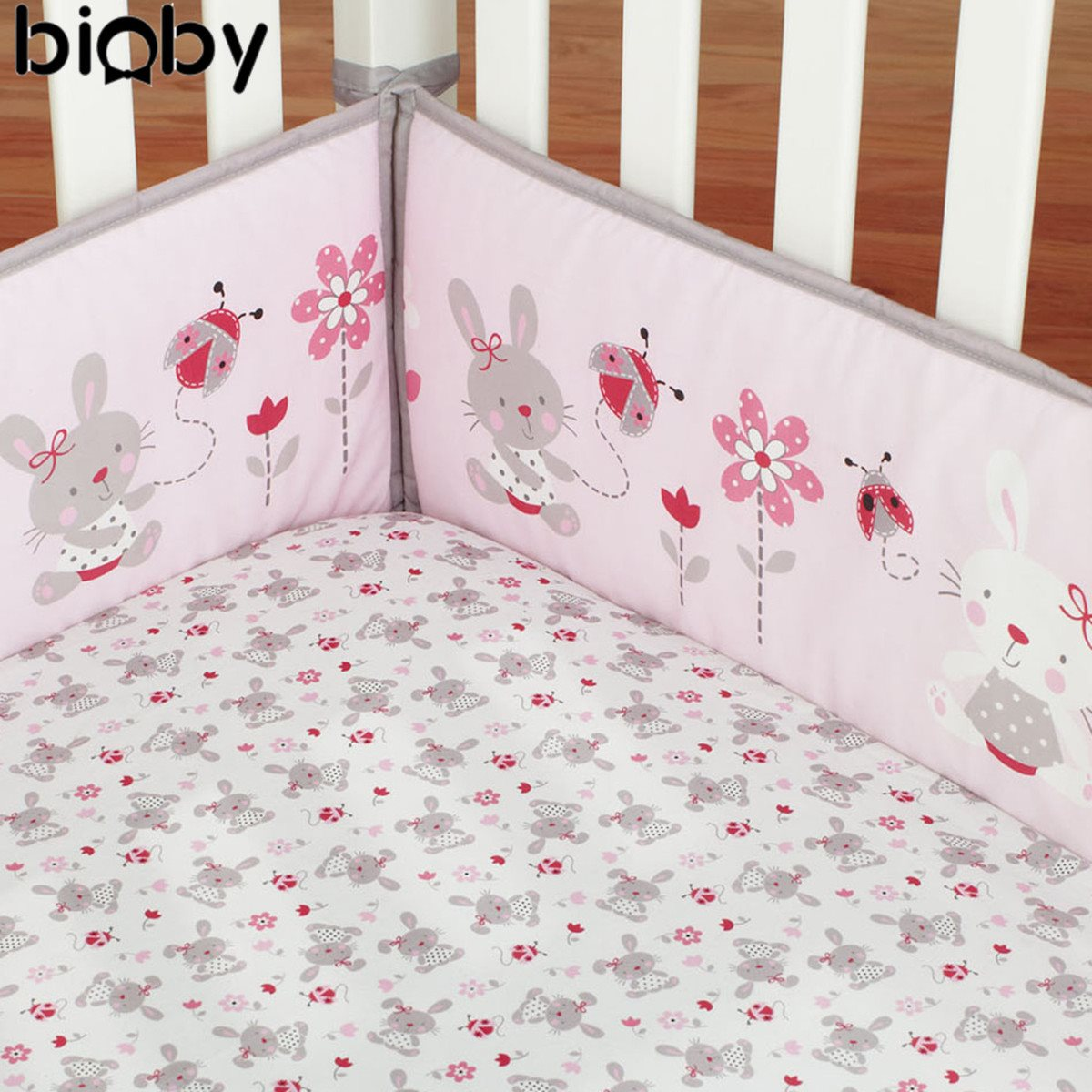 Crib protector for babies - 4pcs Set Rabbit Baby Infant Cot Crib Bumper Cotton Soft Safety Protector Toddler Nursery Cushion Baby Protect Bedding Set