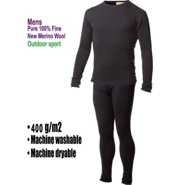 男性ピュア 100% メリノウール冬長袖熱暖かいセーター下着厚いカーディガンボトムパンツセット遠征