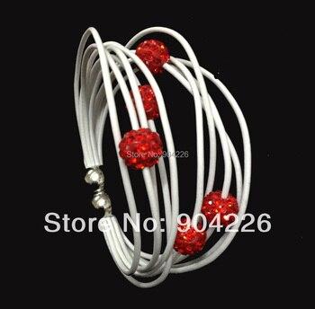 wholesale magnetic clasp 20 bracelets Genuine leather jewelry shamballa beads bracelets free shipping