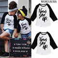 WANGSAURA Toddler Kids Boy Girl Clothes Black And White Never Give Up Print Long Sleeve T-shirt Tees Clothes Unisex 2-6Y