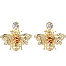 Cute Rhinestone Crystal Insect Gold bumble honey Bee Stud Earrings honeybee earrings for Women Girls Piercing Jewelry RH0804083