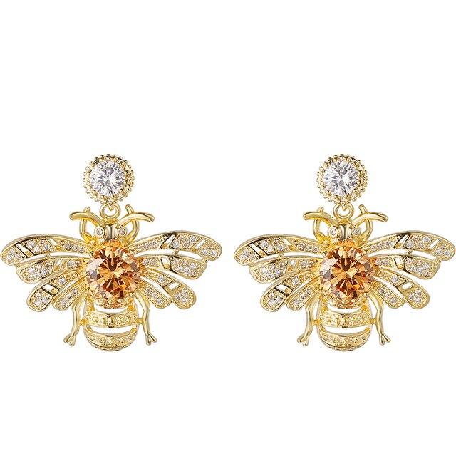 d214814e408181 Cute Rhinestone Crystal Insect Gold bumble honey Bee Stud Earrings honeybee  earrings for Women Girls Piercing Jewelry RH0804083