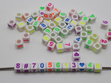 500 White with Colorful Assorted Number # Cube  Beads 6X6mm