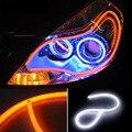 2 Шт./лот 60 см 12 Вт Белый + Желтый Гибкий Фар Дневного Лампы Switchback Газа Ангел Глаз DRL Декоративный Свет с Сигналом Поворота