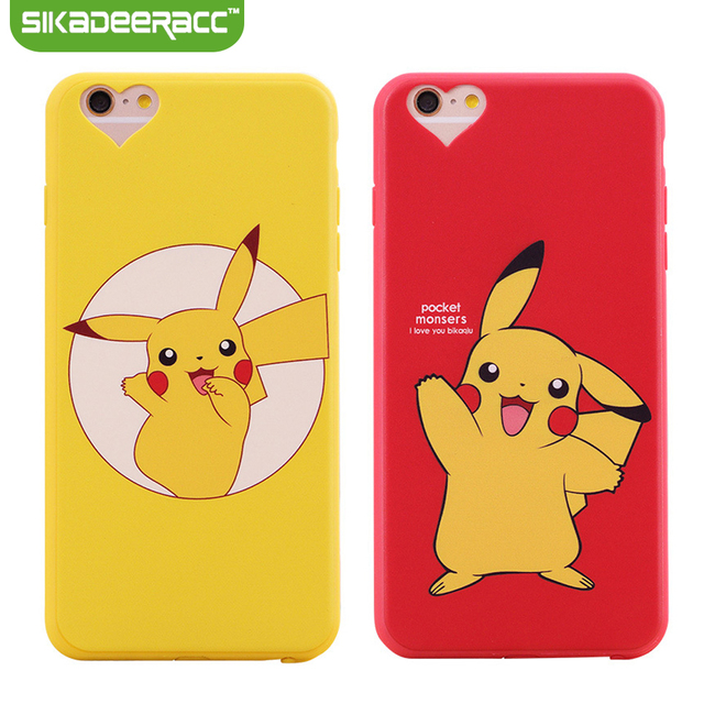 cheap for discount 084a9 07ccd US $1.99  Cartoon Silicone Phone Covers For iPhone 5s 6s 7 Plus SE  Cellphone Ultra Thin Soft Pikachu Shockproof Back Cases Shell DE33-in  Fitted Cases ...