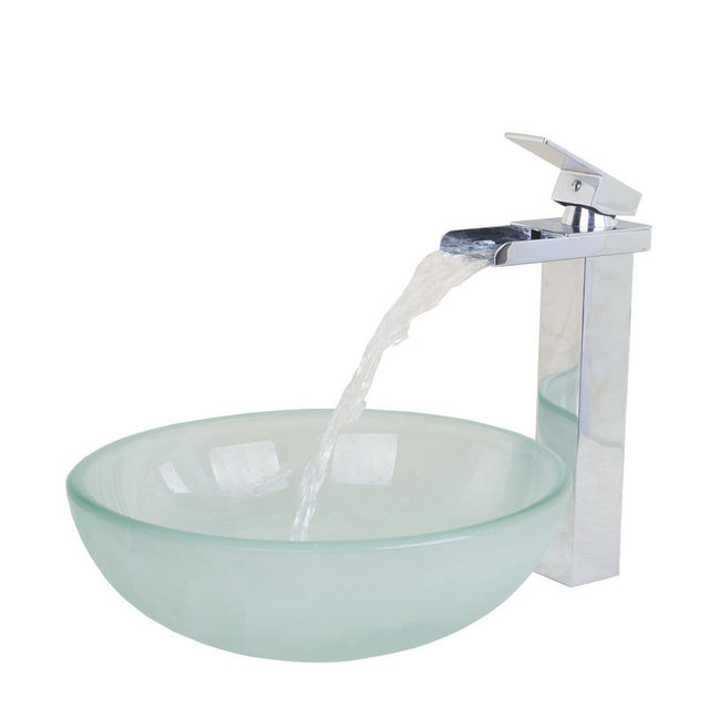Thickness Frost Round Basin Round Wash Basin Vessel Sink With Chrome  Bathroom Waterfall Faucet Glass Sink