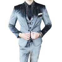 High Quality Wedding Men Suits Gray Black Blazers Slim Suit Male Tuxedo Jacket Pants Vest Suits Groom Party Prom Man Suit 3Piece
