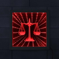 Scale of Justice Law Attorney Symbol LED Infinity Mirror Elegant Firm Attorney Office Courthouse Lighting Wall Decor LED Mirror