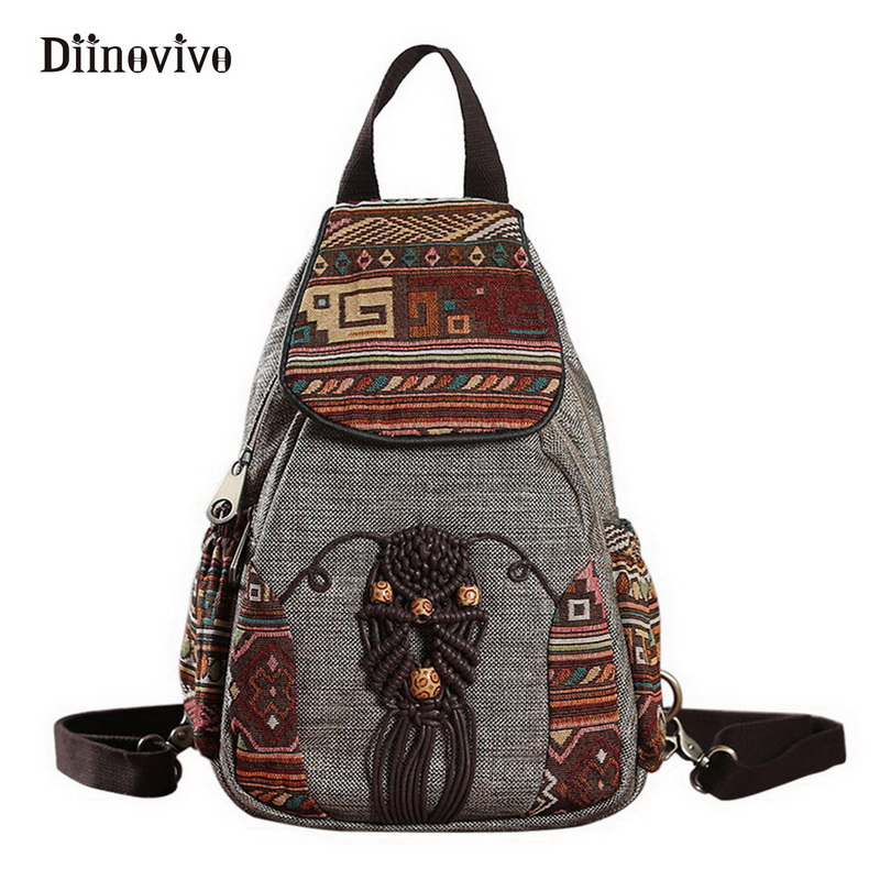 Diinovivo National Style Women Backpack Vintage Handmade Canvas Bags For Girls Travel Mini Geometrical Printing Bagpack Whdv0021