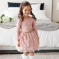 Dress For Girl Holiday Golden Polka Dot Dress Pink Blue Sleeves Sashes Holiday Autumn Winter 2018 Clothes Girl Dresses