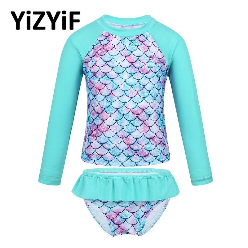 Toddler Girls Swimsuit Tankini Long Sleeves Fish Scales Printed Rashguard Swimwear Bathing Suit For Girls Set Summer Beach Wear