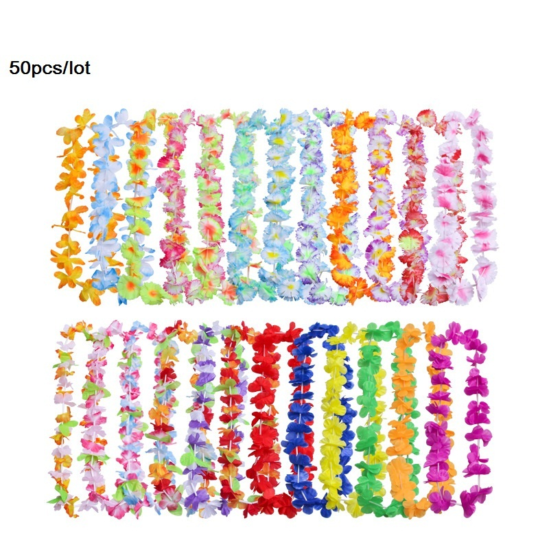 50pcs/lot Hawaiian leis Garland Artificial necklace Hawaii Christmas Flowers leis Party Supplies Beach Fun wreath DIY gift Decor image