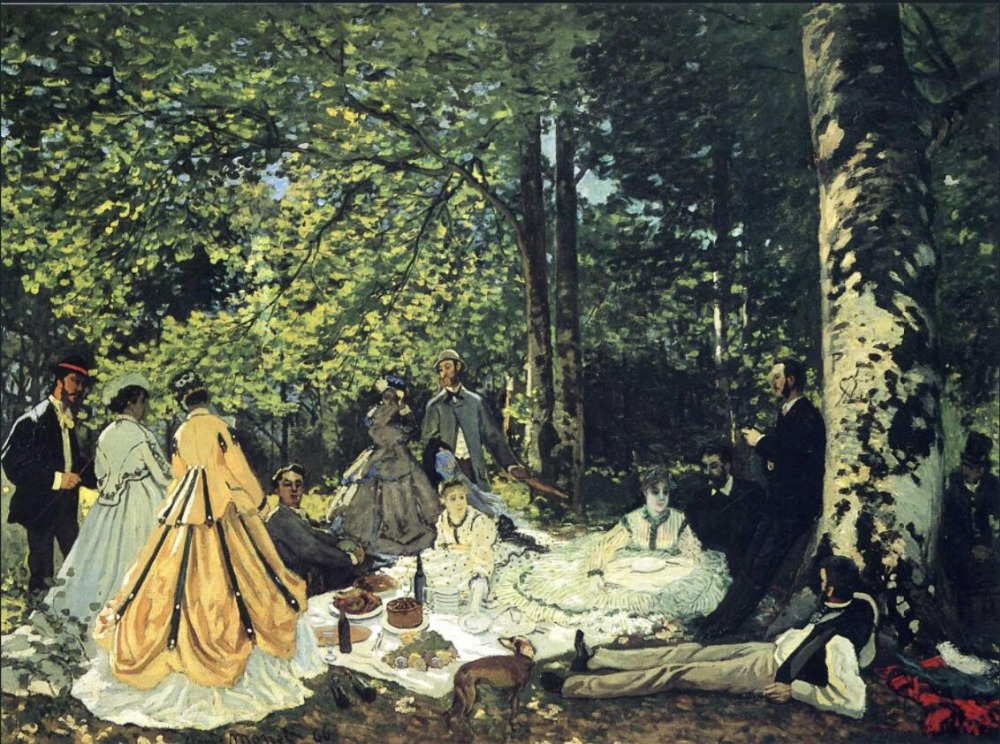 High quality Oil painting Canvas Reproductions Lunch on the Grass (1865)  By Claude Monet hand paintedHigh quality Oil painting Canvas Reproductions Lunch on the Grass (1865)  By Claude Monet hand painted