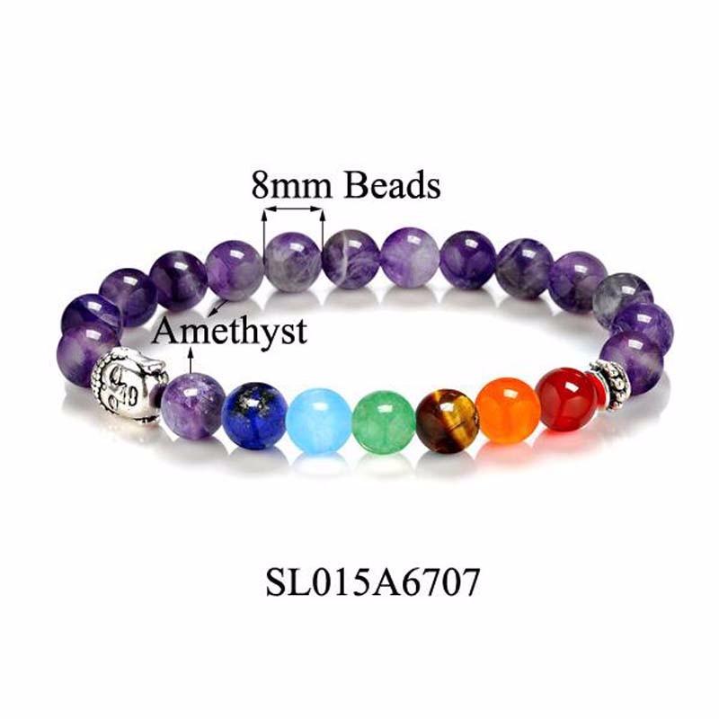 8 Colors 2018 7 Chakra Healing Balance Buddha Beads Bracelets Bangles Charm Natural Stone Bracelet Yoga Jewelry Men Women Gift 5