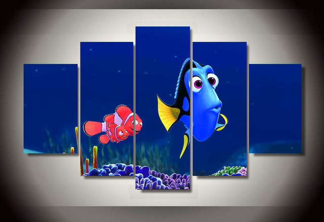 Framed Printed Cartoon Finding Nemo Dory Group Painting Children S Room Decor Print Poster Picture Canvas Free