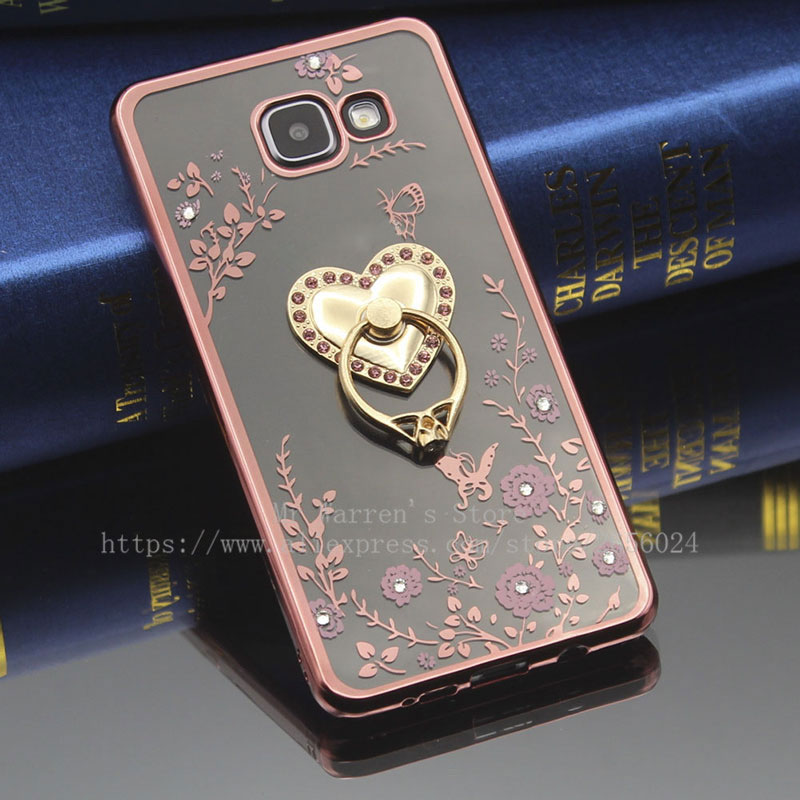 For Samsung Galaxy A3 A5 A7 A8 A9 2015 2016 2017 Pro Silicon Diamond Crystal Glitter Stand Ring Holder TPU Soft Phone Case ...