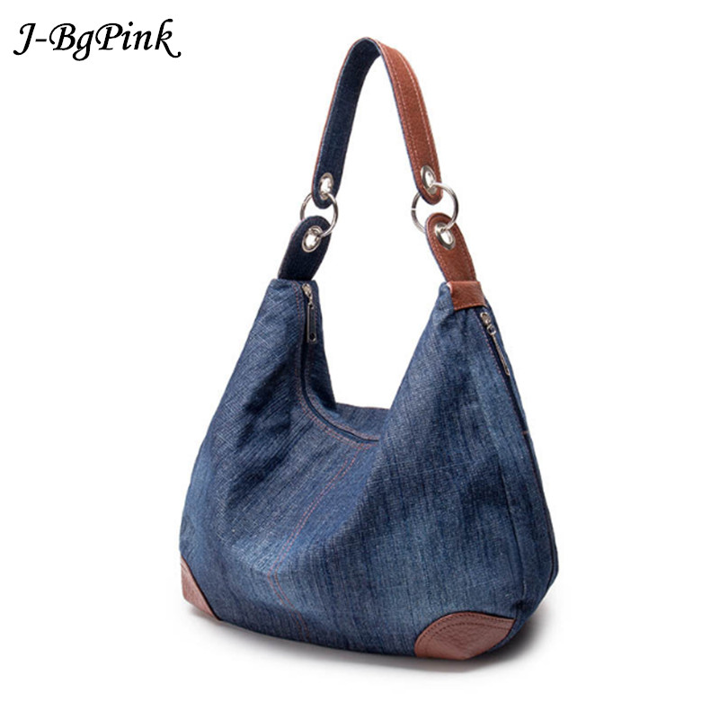 2018 Large Luxury Ladies Denim Handbag Big Shoulder Bag Blue Jeans Handbag Jean Denim Tote Crossbody Ladies Shoulder Bag