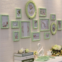 14pcs/set Photo Frame For Living Room Background Light Green Picture Frame Pastoral Style Family Photo Frame DIY Gift Wall Decor