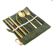 7PCs Reusable Drinking Straw Spoon Fork Chopsticks Brush BAG Set Portable Outdoor Picnic Travel Cutlery Sets