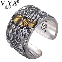V.YA Solid 990 Sterling Silver Open Rings for Men Cool Vintage Thai Silver Male Ring Skeleton Skull Jewelry Accessories