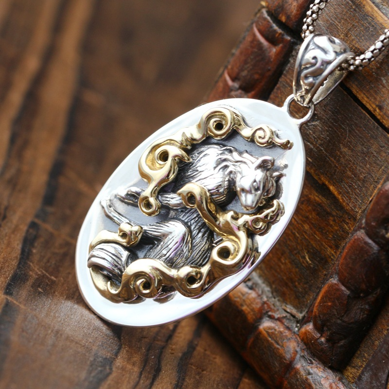 Vintage 925 pure silver hip hop Thai silver pendant male and female models punk silver pendant