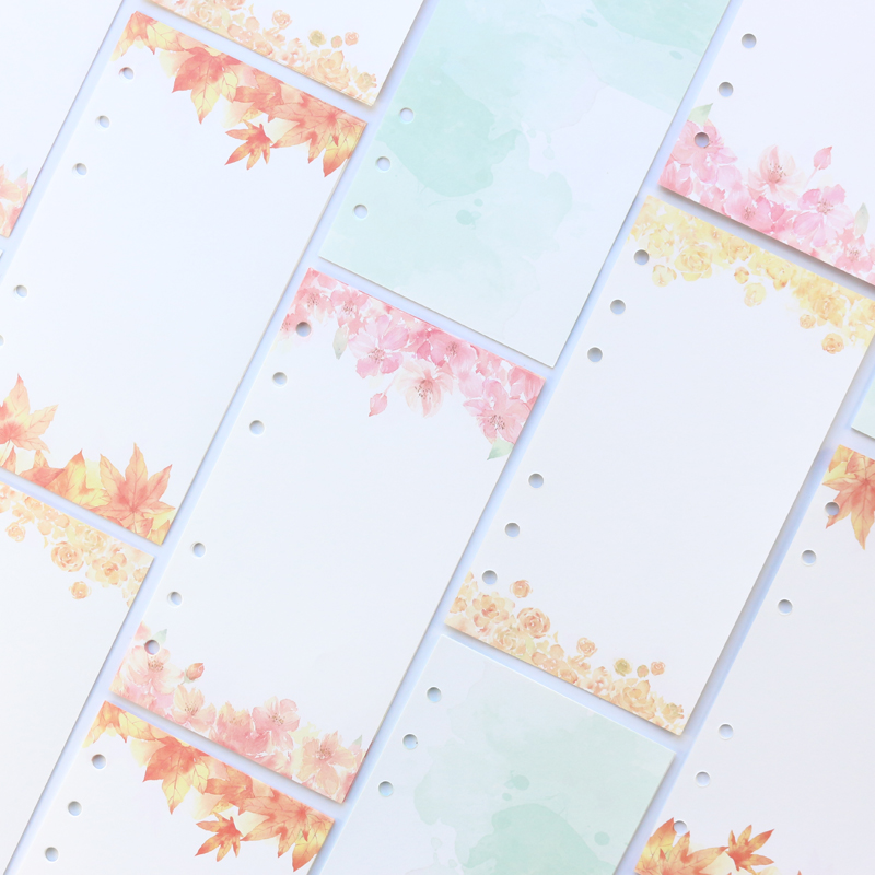 Domikee 2020 New Candy Cartoon Colorful School Student 6 Holes Filling Inner Papers Core For Binder Notebooks Stationery A5 A6