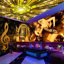 цены  ktv bar mural reflective wall covering wall covering wallpaper waterproof custom notes microphone Large 3d background