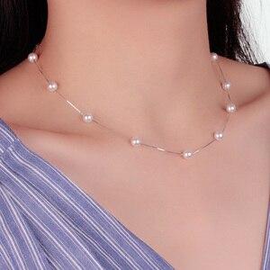 Anenjery 925 Sterling Silver Jewelry 12 PCS 6mm Pearl Box Chain Choker Necklace kolye collares bijoux femme S-N54(China)