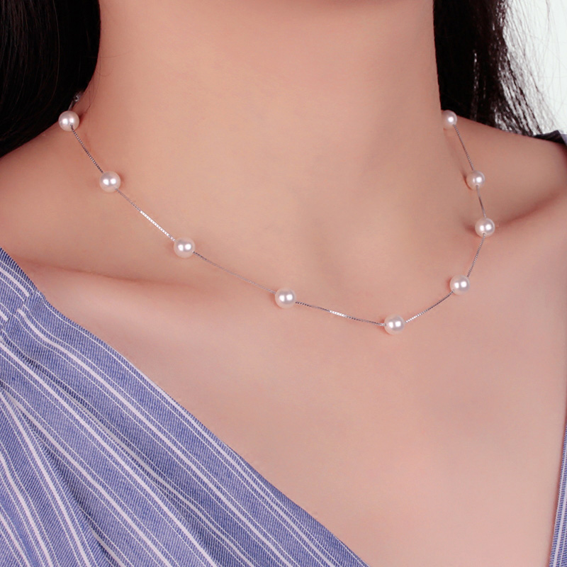 Anenjery Silver Color 12 PCS 6mm Pearl Box Chain Choker Necklace kolye collares bijoux femme S-N54(China)