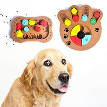 2018 Newest Wooden Pet Dog Leakage Toys Puppy Cat IQ Traning Claw Bone Shape Food Plate Feeder Toy Supplies