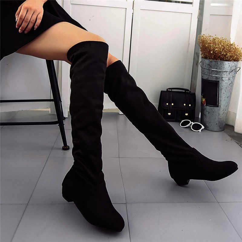 Frauen stiefel Mode Wildleder Leder Schuhe Frauen Über das Knie Heels Stiefel Stretch Flock Winter Hohe Stiefel Winter Frauen stiefel