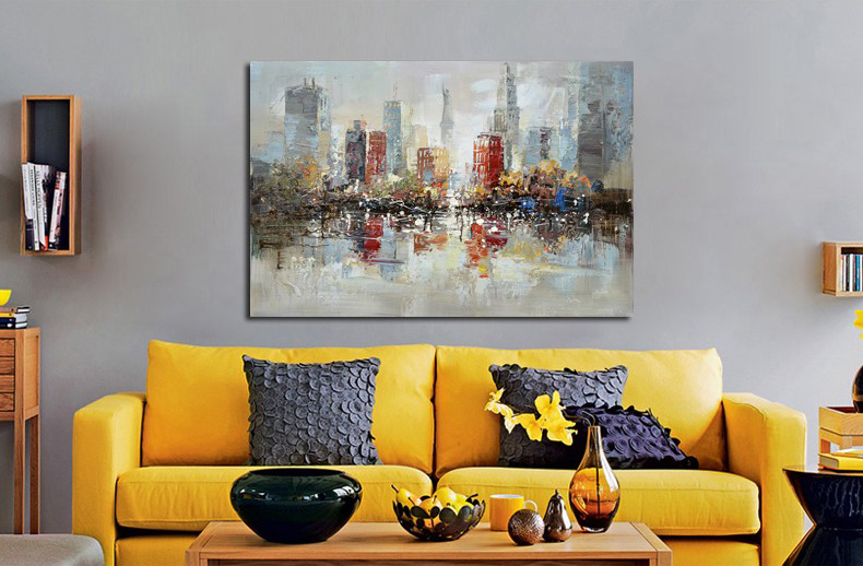 Home decor abstract oil painting top artist hand painted canvas painting beautiful riverside city Abstract painting pictures in Painting Calligraphy from Home Garden