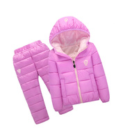 Children Set Boys girls Clothing sets winter 1 7year hoody Down Jacket + Trousers Waterproof Snow Warm kids Clothes suit 6 color