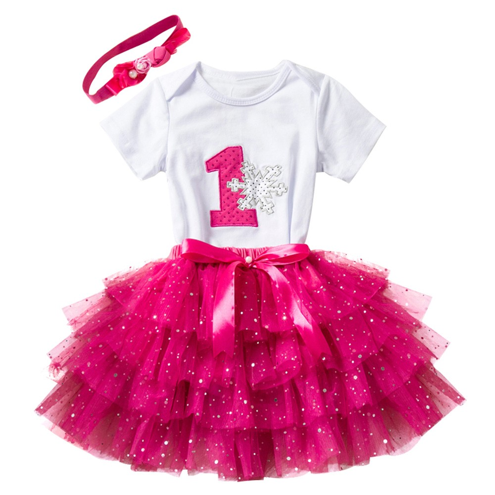 3Pcs BabyGirls Birthday Cartoon Print Tutu Skirts+Jumpsuit+Headband Set Outfits 2018 new clothing girls clothes sets T-shirt