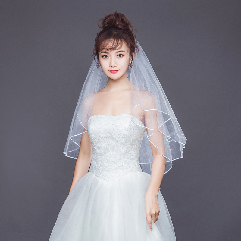 White Short Bridal Women Veil Romantic Three Layers 85 Cm Veils With Comb Veil For Wedding Party Bridal Wedding Accessories