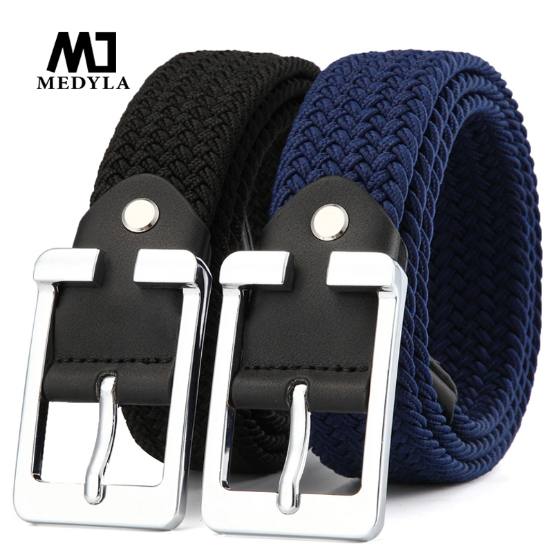 MEDYLA men's woven canvas pin buckle elastic waistband women's casual youth jeans   belt