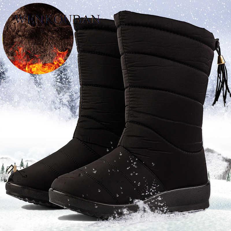 Su geçirmez kış çizmeler kadın orta buzağı botlar bayan kar kama kauçuk patik nedensel kadın sıcak peluş Botas Mujer 2020