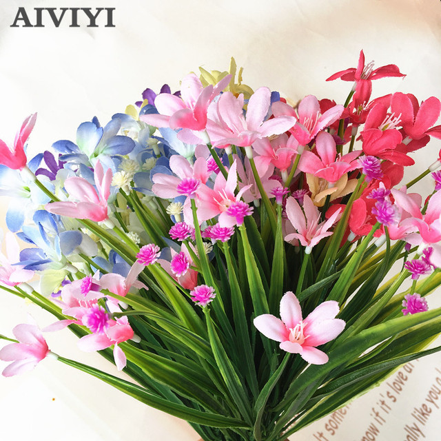 1 Ikat Buatan Plastik Tanaman Anggrek Palsu Sutra Bunga Pernikahan Karangan  Bunga Dekorasi Rumah Tanaman Air d027aeb60d